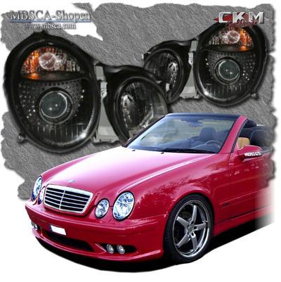 Clear frontlights projector 2pcs Black Halogen/Xenon